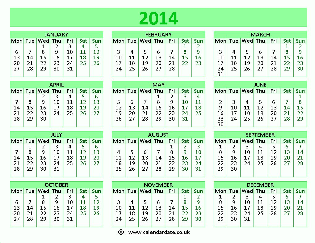 Printable green 2014 calendar for use in UK