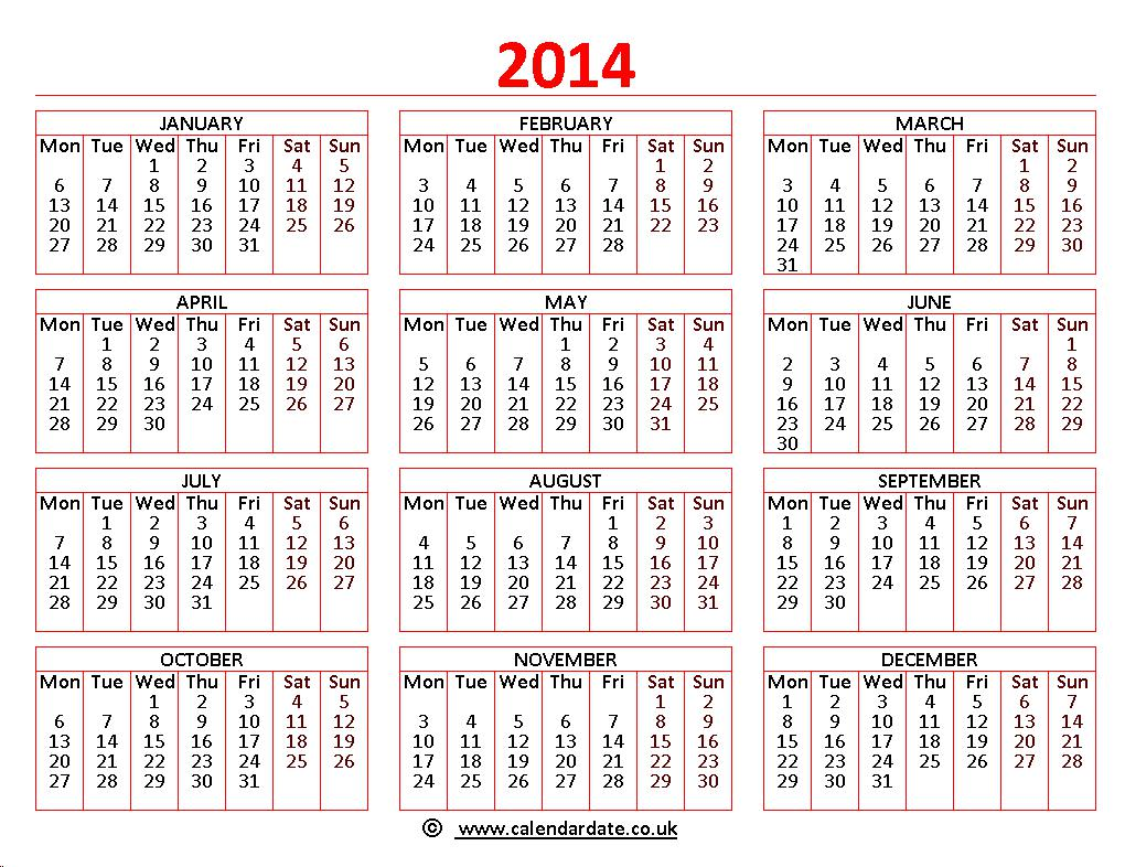 fillable calendar template 2014 - printable 2014 calendar