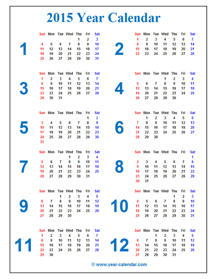 Longer blue 2015 Calendar Long 2015 Calendar